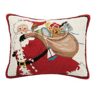 Gean Santa Bag of Presents Hook Wool Throw Pillow