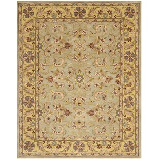 Best Cranmore Green/Gold Floral Area Rug By Charlton Home