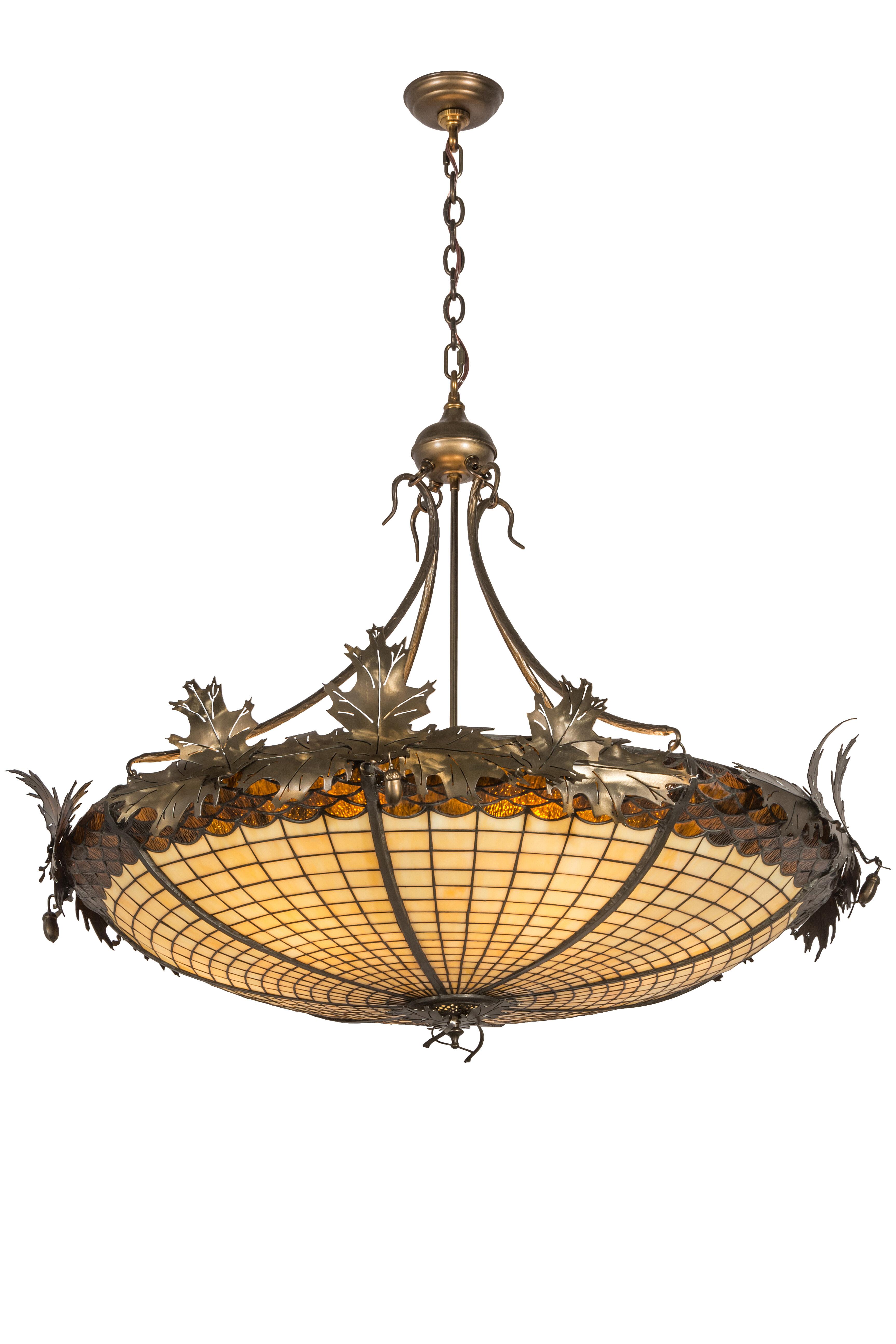 Meyda Tiffany Greenbriar Oak 6 Light Unique Statement Bowl Pendant Perigold