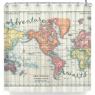 Catherine Holcombe Adventure Awaits World Map Single Shower Curtain