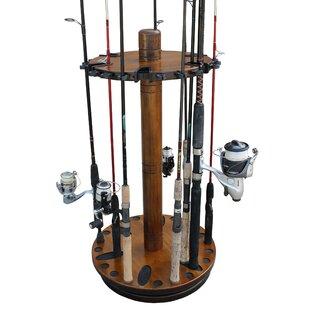 Wood 30 Fishing Rod Spinning Wood Storage Rack - Dark