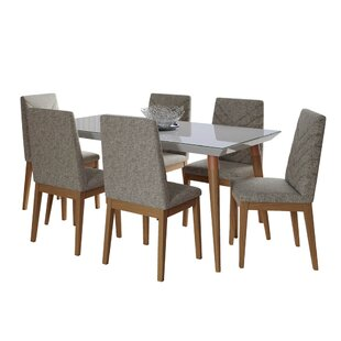 Lemington 7-Piece 62.99 Solid Wood Dining Set with 6 Dining Chairs in White Gloss and Beige George Oliver