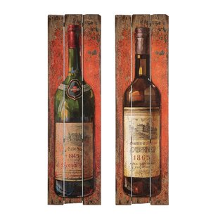 Wine Bottle Wall Plaque Set (Set of 2)  sc 1 st  Wayfair & Wine Bottle Wall Art | Wayfair