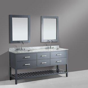 London Cambridge 71 Double Bathroom Vanity Set with Mirror By dCOR design