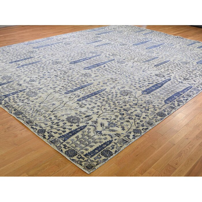 One Of A Kind Cohn Oversized Willow And Cypress Tree Hand Knotted 12 X 15 6 Wool Silk Blue Area Rug