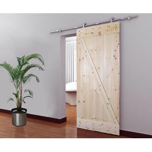 Solid Wood Panelled Knotty Pine Slab Interior Barn Door