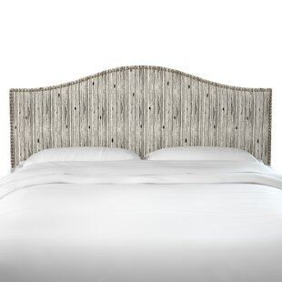 Poyner Shibori Stripe Ink Linen Upholstered Panel Headboard