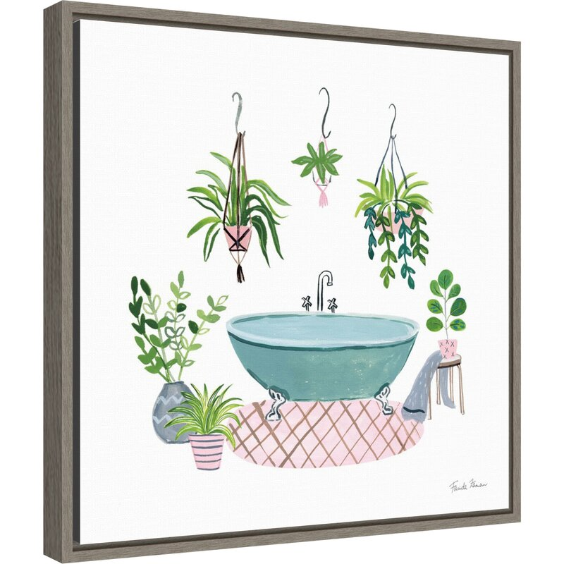 Latitude Run Green Bathroom Ii By Farida Zaman Floater Frame Painting Print On Canvas Wayfair