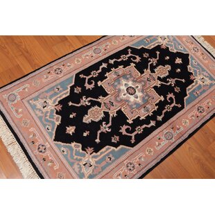 Find One-of-a-Kind Ellett Traditional Persian Hand-Knotted 3'1 x 5'1 Wool Black/Peach/Gray Area Rug By Isabelline