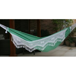 Double Person Fair Trade Beautiful Emerald Hills' Hand-Woven Brazilian Cotton with Crocheted Trimming Indoor And Outdoor Hammock