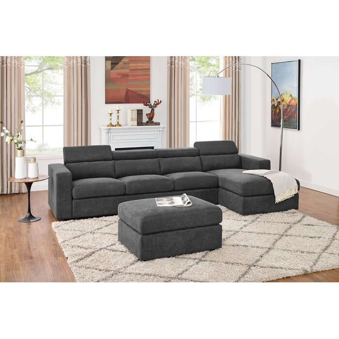 Fowlerville 4 Seater Shape Right Hand Facing Sectional Sofa With Ottoman