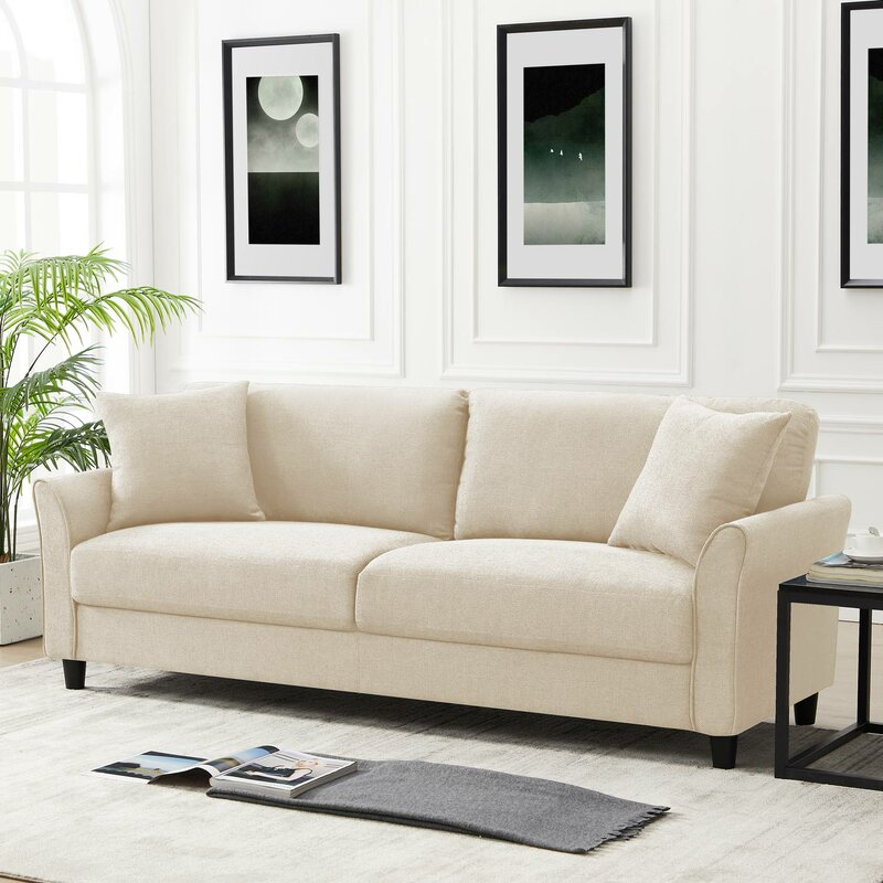 Mid-Century Upholstered 85 Inch Sofa Couch, Modern Linen Fabric Couch For Small Space