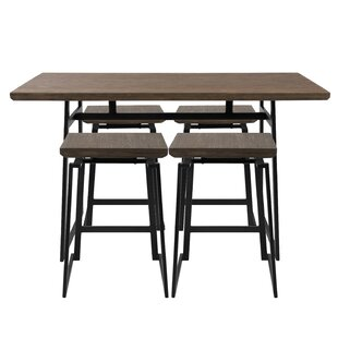 Cassiopeia Industrial 5 Piece Counter Height Dining Set