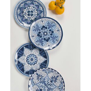 Eldert Assorted 4 Piece Melamine Salad Plate Set