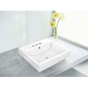 Bargain Ceramic Rectangular Vessel Bathroom Sink with Overflow ByRoyal Purple Bath Kitchen