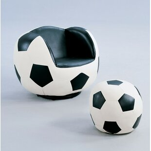 Zoomie Kids Knopf Soccer Swivel Barrel Chair and Ottoman