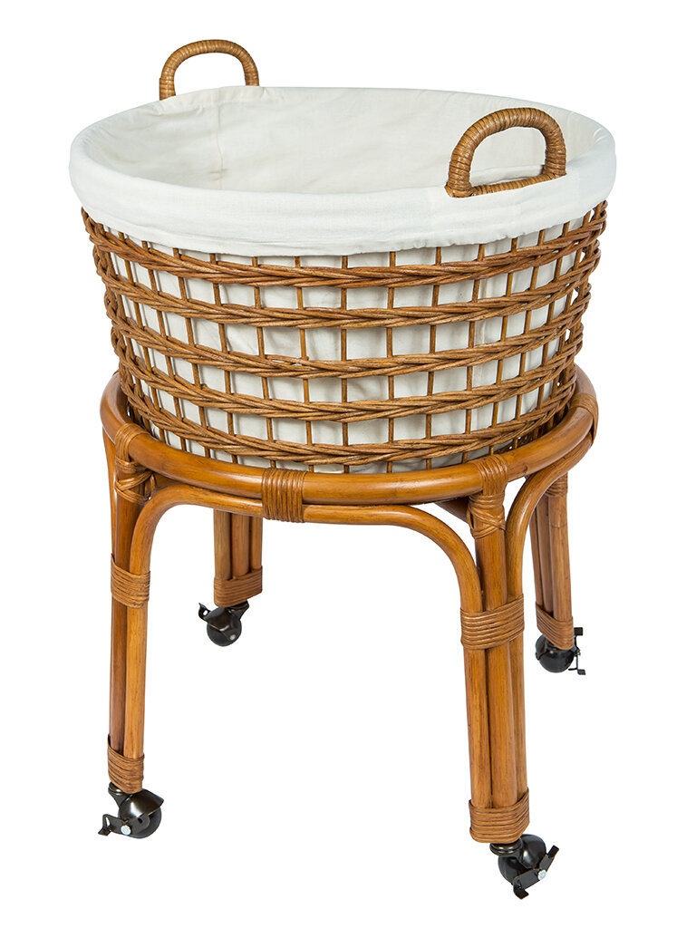 Rolling Wicker Laundry Basket & Reviews | Joss & Main