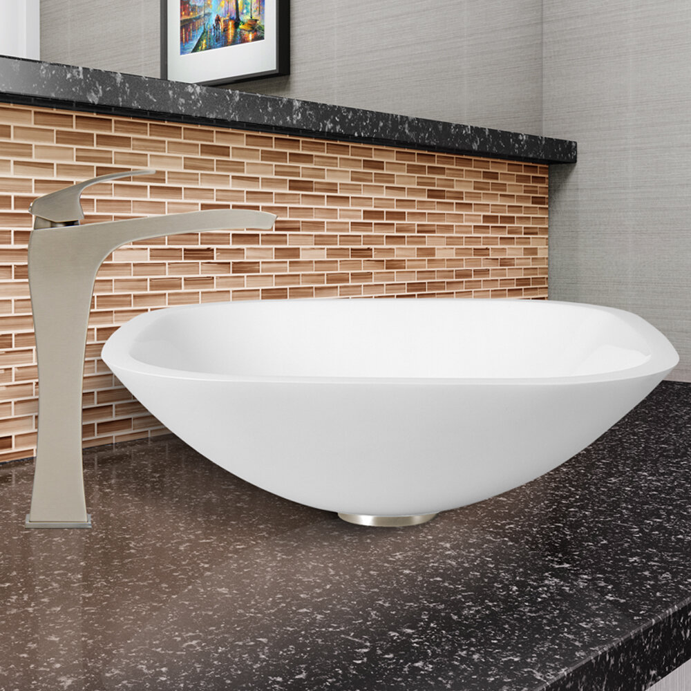 Vigo White Phoenix Glass Square Vessel Bathroom Sink With Faucet