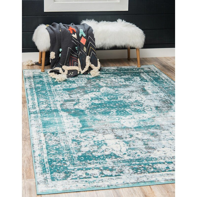 Rugpal Sandrine Oriental Teal Area Rug Reviews Wayfair