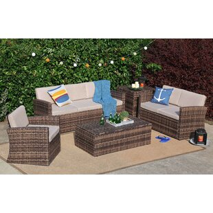 Yadiel 5 Pieces Rattan Sofa Seating Group with Cushions by Highland Dunes