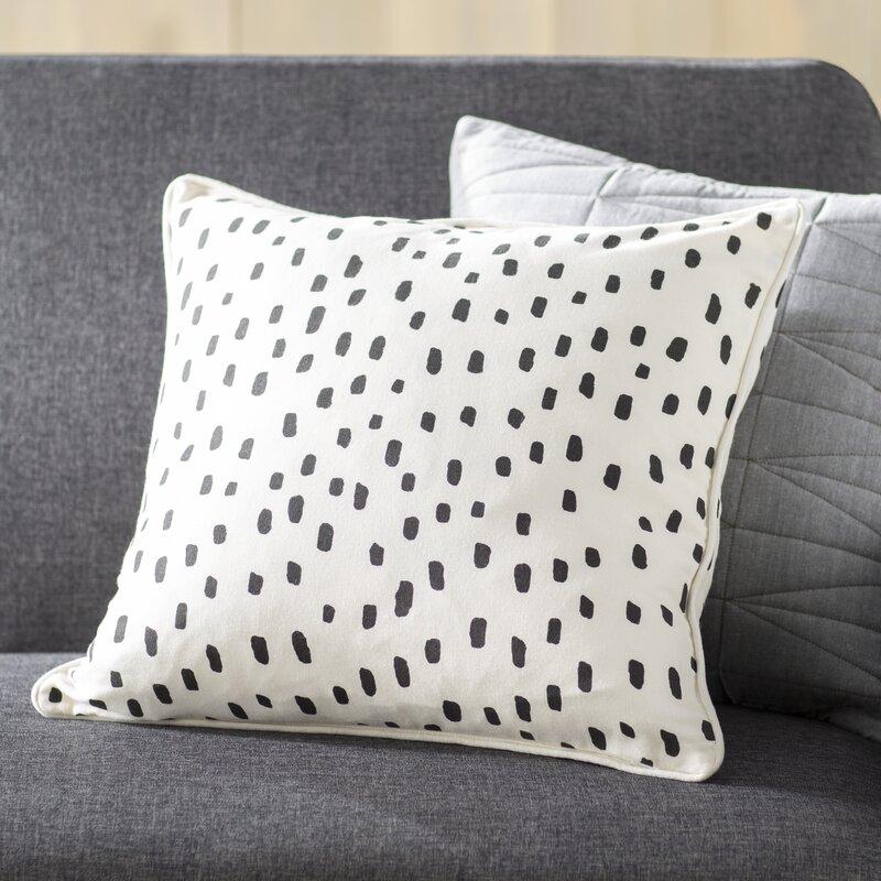 Renata Dalmatian Dot Cotton Throw Pillow Cover & Reviews