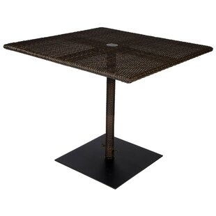 All-Weather Square Umbrella Dining Table with Weighted Base