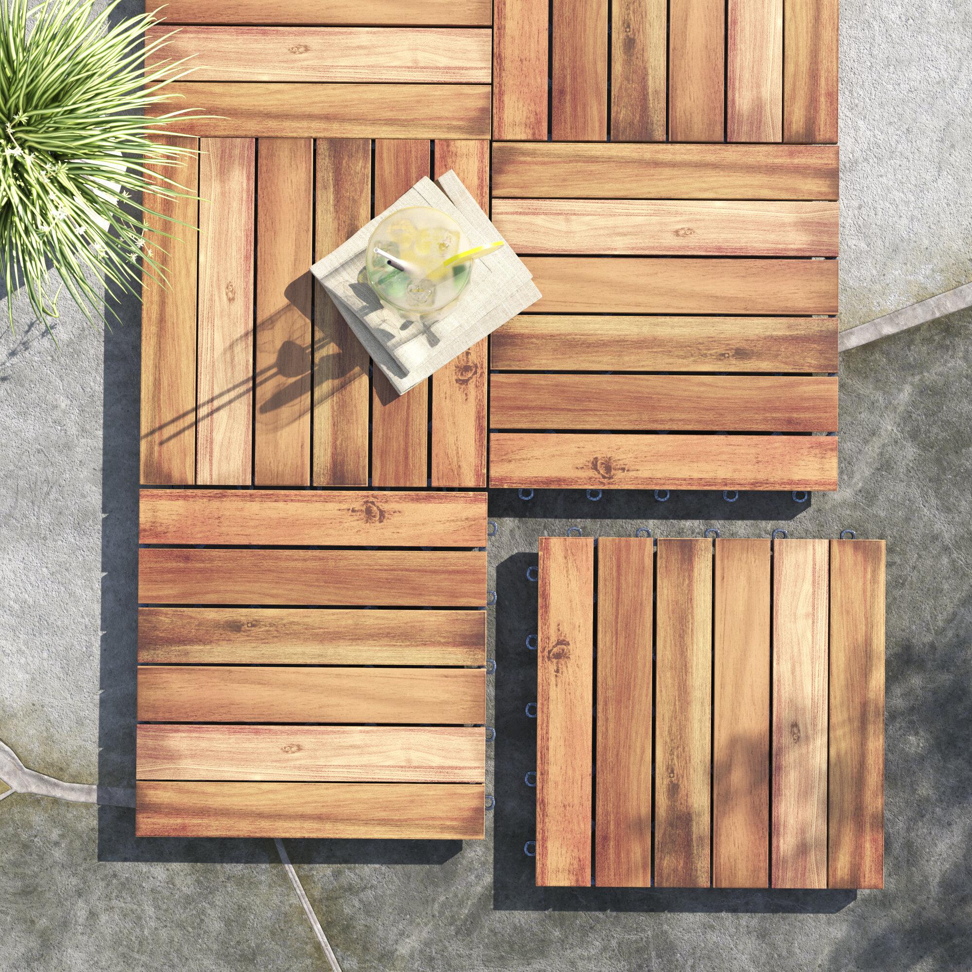 Highland Dunes Felker 11 8 X 11 8 Acacia Wood Interlocking Deck Tile In Brown Reviews Wayfair