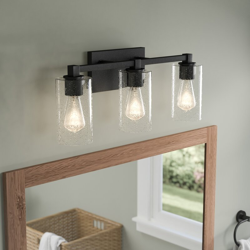 Rustic farmhouse vanity lights youll love wayfair mcdowell 3 light vanity light with clear seeded glass by union rustic mozeypictures Gallery