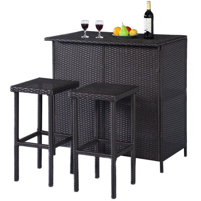 Eligia Patio Outdoor 3-Piece Bar Set by Latitude Run New