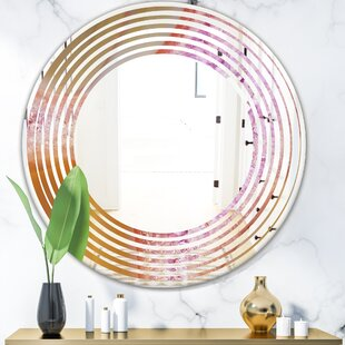 Crystals of Amethyst in Agate Wave Modern Frameless Wall Mirror by East Urban Home