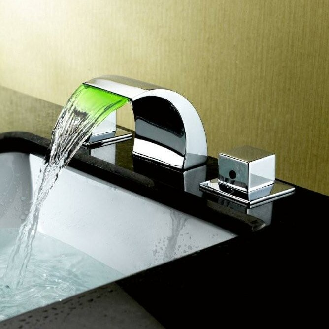 Waterfall Bathroom Sink Faucets. Widespread Led Waterfall Bathroom Sink Faucet