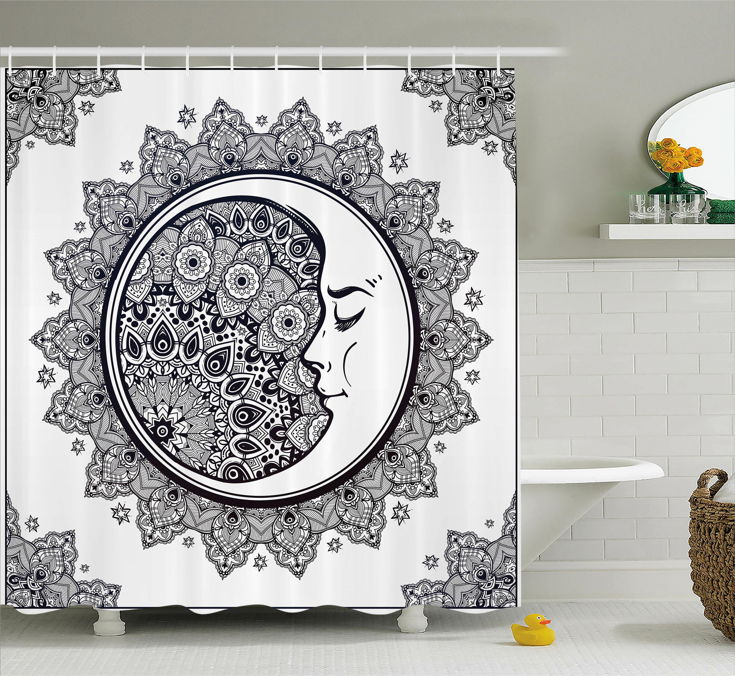 East Urban Home Zodiac Boho Star Moon Mandala Shower Curtain