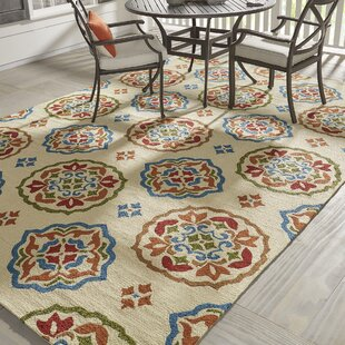 Union Hand-Hooked Cream/Red Indoor/Outdoor Area rug