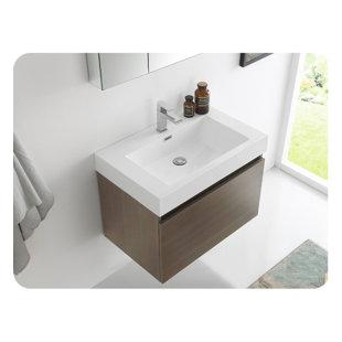 Senza 30 Mezzo Single Wall Mounted Modern Bathroom Vanity with Medicine Cabinet