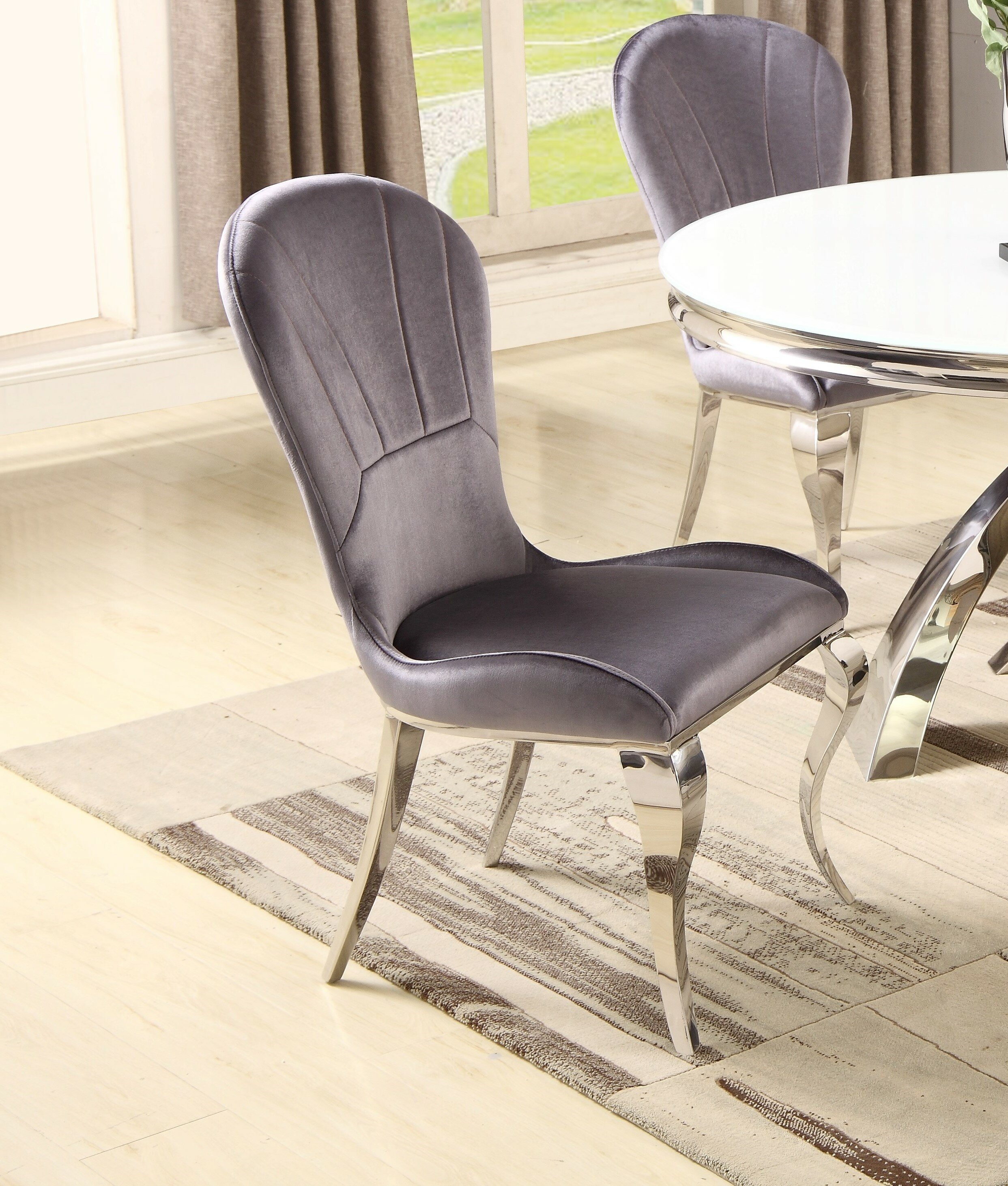 House Of Hampton Hundt Cotton Upholstered Side Chair In Purple Wayfair