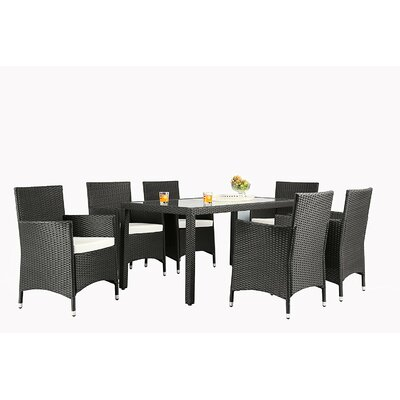 Bridgette Outdoor Complete 7 Piece Dining Set with Cushions Color: Black by Andover Mills
