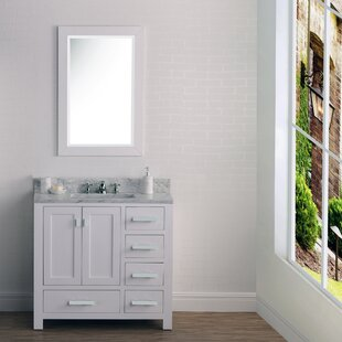 Clemons 36 Cashmere Single Bathroom Vanity Set with Mirror