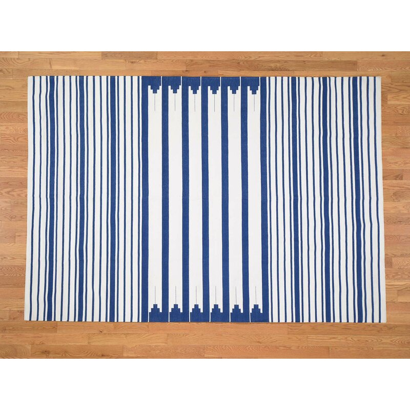 Isabelline One Of A Kind Ruhlman Reversible Handmade Kilim 6 1 X 8 10 Cotton Blue Area Rug Wayfair