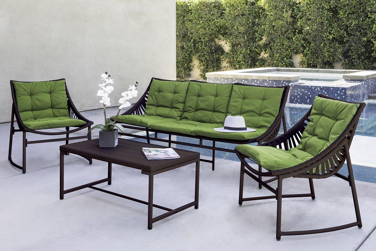 Varick Gallery Crick IndoorOutdoor Piece Seating Group With - Indoor outdoor furniture