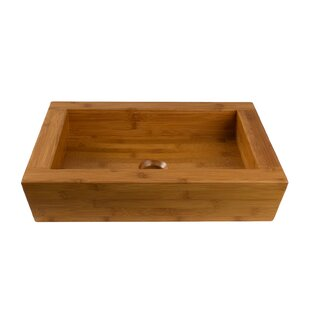 Logar Bamboo Wood Rectangular Vessel Bathroom Sink Maykke
