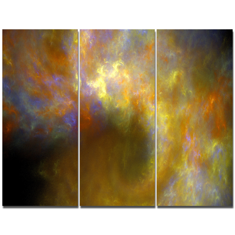 DesignArt \'\'Blur Yellow Sky with Stars\' Graphic Art Print Multi ...
