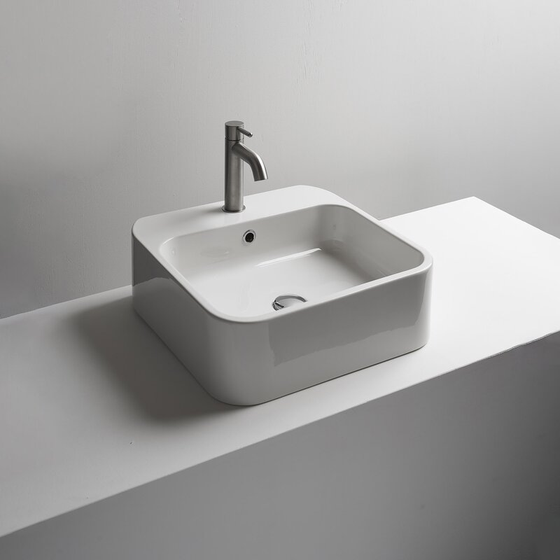 Ws Bath Collections Cosa Ceramic Square Vessel Bathroom Sink With Overflow Wayfair