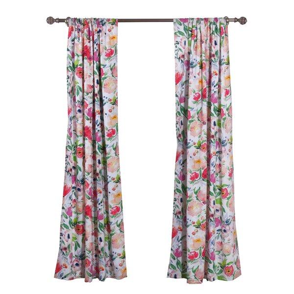 Winston Porter Ludo Floral Semi Sheer Rod Pocket Curtain Panels Reviews Wayfair Ca