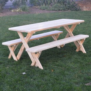 Spafford Pine Cross-leg Picnic Table with 2 Benches