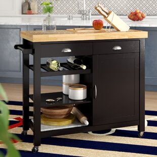 Nathaly Kitchen Cart with Wood Top Breakwater Bay