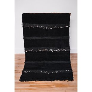 Reviews One-of-a-kind Pabon Beni Ourain Hand-Woven Wool Black Area Rug ByBungalow Rose