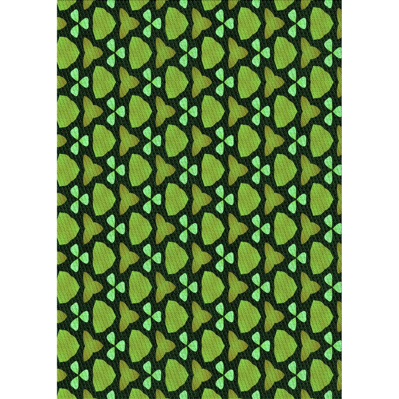 East Urban Home Megane Geometric Wool Dark Green Green Area Rug Wayfair