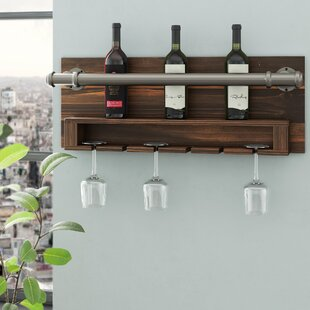 Industrial 2 Bottle Wall Mounted Wine Rac..