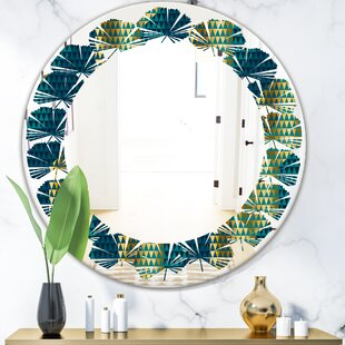 Hexagon Pattern V Leaves Modern  Contemporary Frameless Wall Mirror