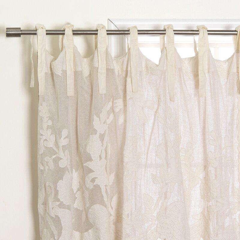 Ophelia Co Elihu Embroidered Cotton Blend Solid Semi Sheer Tab Top Single Curtain Panel Wayfair